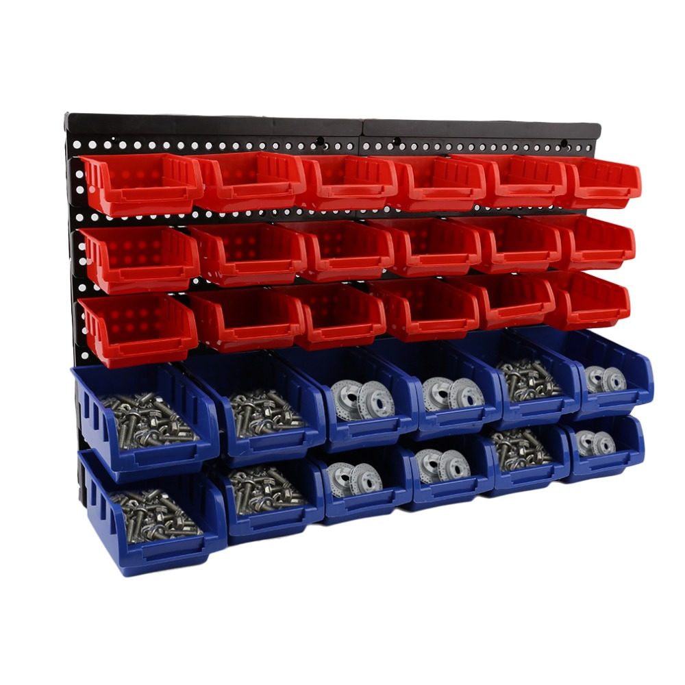 32pcs/set Wall Mounted Beveled Modular Parts Box Small Part Plastic Bins Organizer Rack Anti-static Storage Rack Garage Tools new wall mounted storage bin rack tool parts garage unit shelving organiser box
