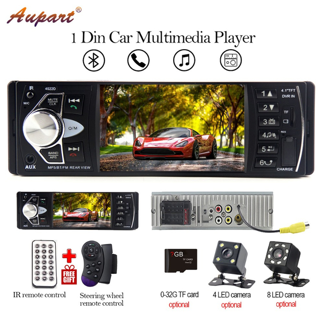 1 Din Car Radio 1din autoestereo support dvd format FM Bluetooth autoradio Rear View Camera Steering Wheel Remote Control 4.1''