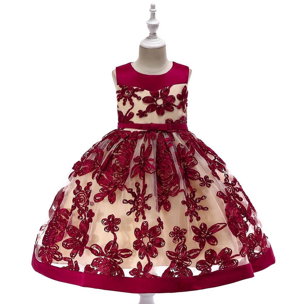 Retail Baby   Girl   Elegant Pageant Party   Dress   Kids   Girl   Christmas Wedding   Dress   Embroidery   Flower     Girl     Dress   L5052