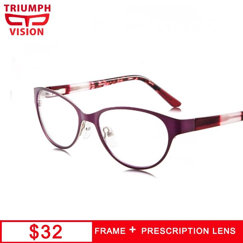 TRIUMPH VISION Womens Prescription Eyeglasses Multicolored Full Rim Cat Eye Frame Myopia Glasses Computer Anti Blue Ray Glasses