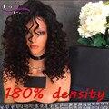 180 Densidade Onda Profunda Solto Frente Cheia Do Laço Perucas de Cabelo Humano brasileira Virgem Do Cabelo Humano Peruca Cheia Do Laço Para As Mulheres Negras Do Bebê cabelo