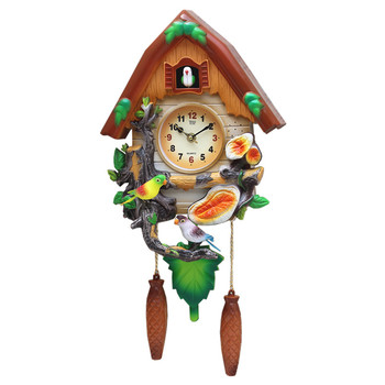 Crafts Arts Home decoration Cuckoo clock cartoon  clock mute children bedroom living room wall  cute bird