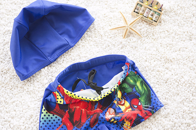Baby Boys Swimming Trunks With Cap 1-6Y Cartoon Spiderman Bathing Suit Children Swim Shorts Kids Toddler Beach Pants Swimwear