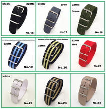 Wholesale 10PCS /lots  High quality 22MM Nylon Watch band NATO straps waterproof watch strap - 2014 New arrived 10 colors  hot wholesale 10pcs lot watchband 22mm nylon strap nato strap waterproof watch band 45 color available