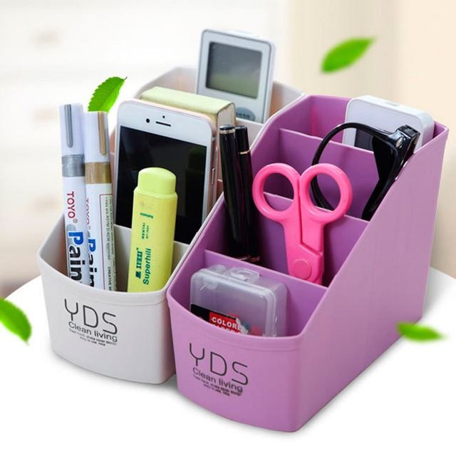 Multifunctional Desk Organizer 4 Slots Desktop Storage Box Case Pen Pencil  Holder Plastic Cosmetics Make Up