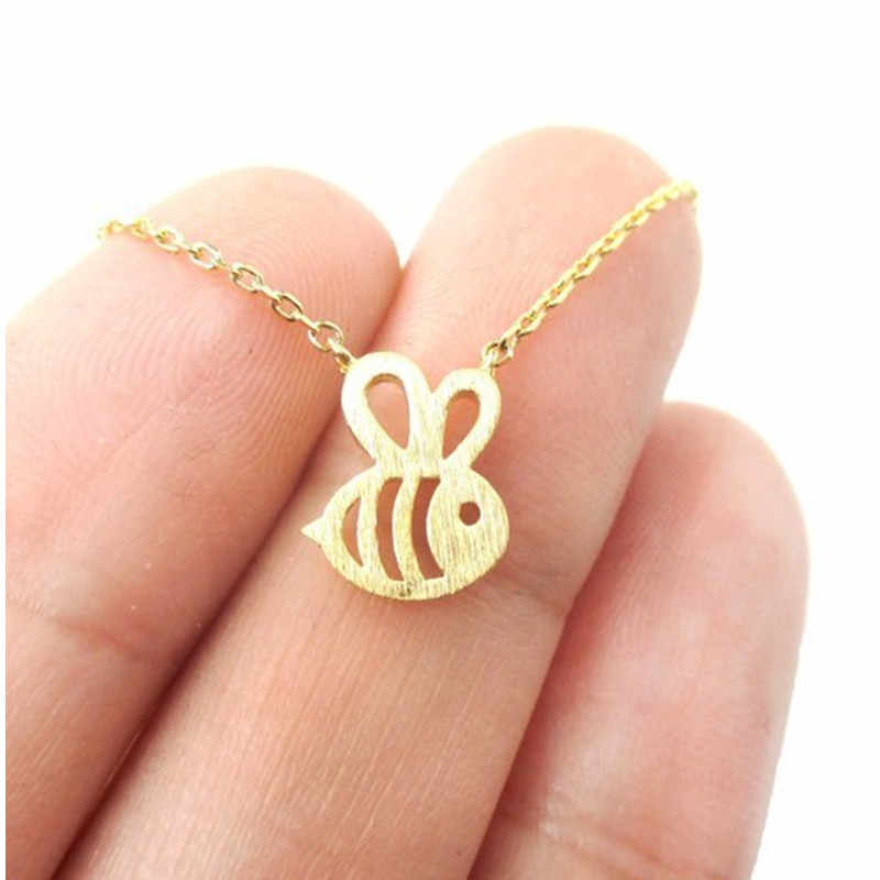 QIMING New Cute Animal Bumble Bee Necklace Women Gold Silver Baby Jewelry Cute Insect Charm Necklace For Girl Gift