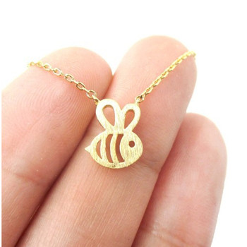 QIMING New Cute Animal Bumble Bee Necklace Women Gold fashion Baby Jewelry Cute Insect Charm Necklace For Girl Gift image