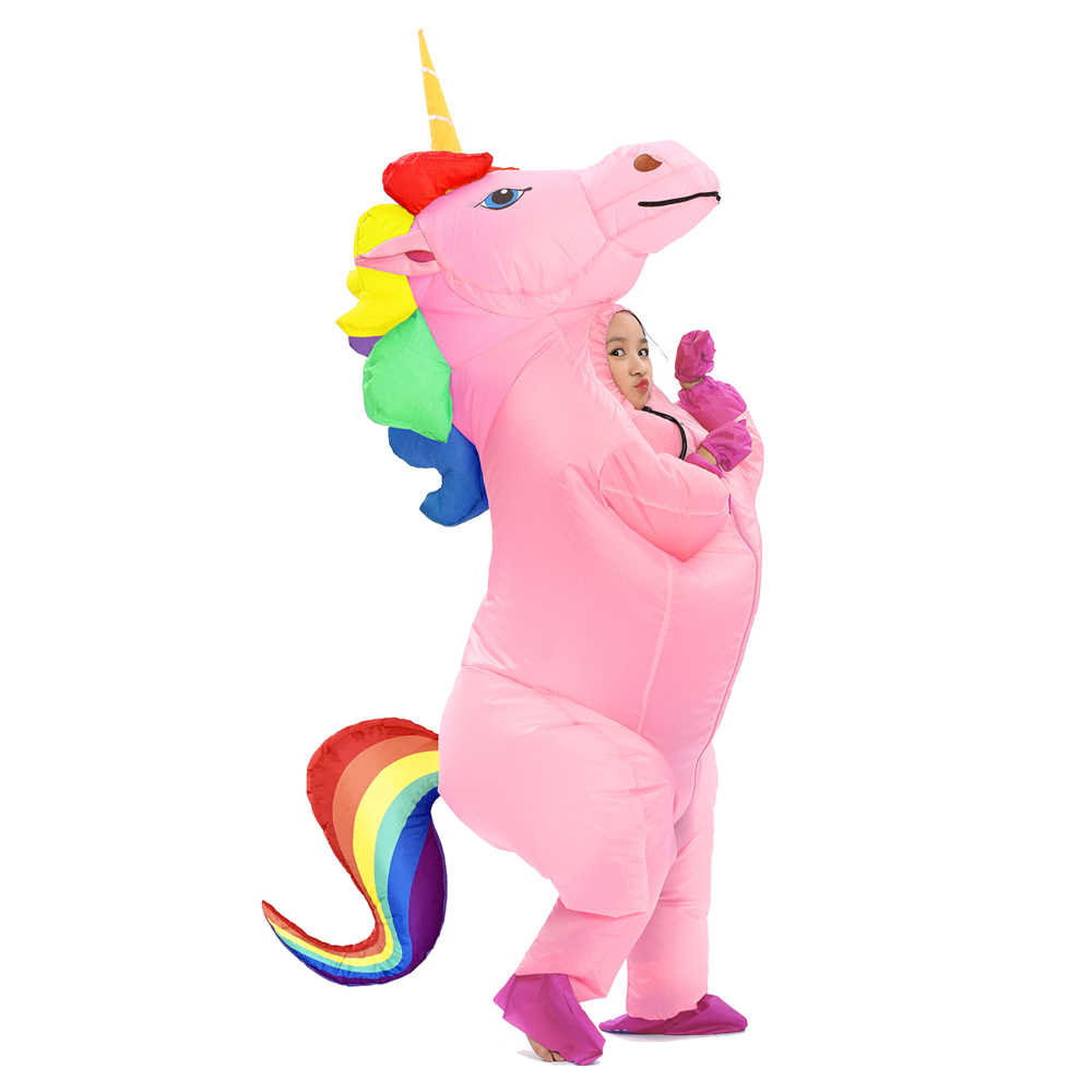 9bc9161bd50 ... JYZCOS Inflatable Unicorn Costumes for Kids Adult Fancy Dress Ride  Horse Suit Halloween Purim Carnival Party ...
