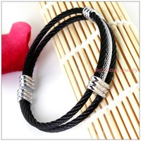 Free Shipping Top Design 316L Stainless Steel Black Silver Tone Wire Cable Twisty Chain Mens Womens