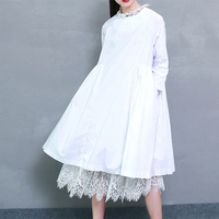 2017 Spring Fashion Trend New Korean Distribution Lace Hem Solid Cotton Long Sleeve Dress Woman