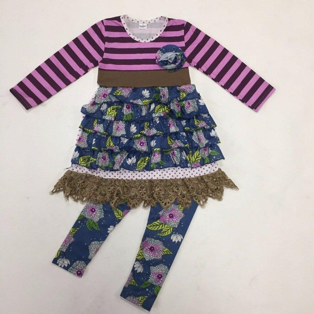 โรงงานขายส่งเด็กสาวบูติคRemakeชุดพิมพ์เลคกิ้งลายR Ufflesยอดเด็กผ้าฝ้ายเสื้อผ้าชุดF023