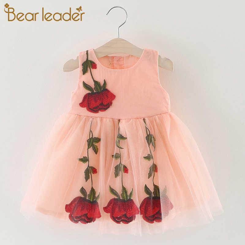 Bear Leader فساتين أطفال 0-2 سنة جديدة لربيع وصيف على الموضة ملابس أطفال فساتين قطنية لطيفة مطبوعة للفتيات الرضع