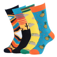 4 Pairs Lot Fashion Men S Pineapple Pizza Plaid Hamburg Cactus Dress Sock Male Abstract Oil
