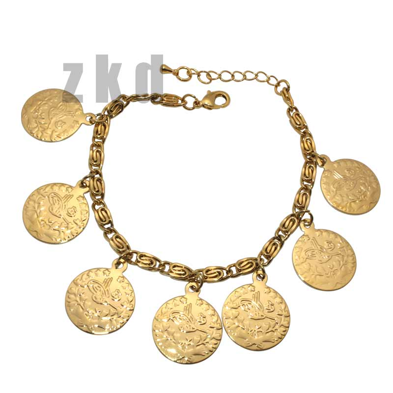 zkd copper islam muslim Turks Bracelets Arab Coin for Women Gold Color Turkey Coins Jewelry