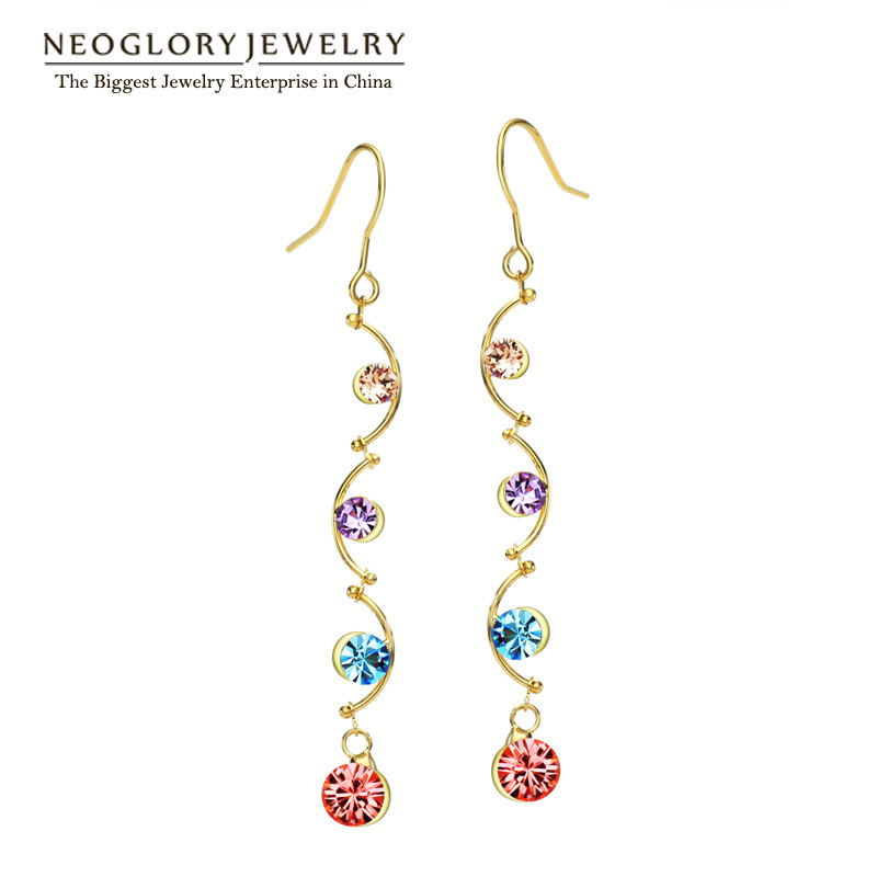 Neoglory Colorful Austrian Rhinestone Light Yellow Gold Color Jewelry Drop Dangle Earrings for Women 2018 New Colf Colf-b