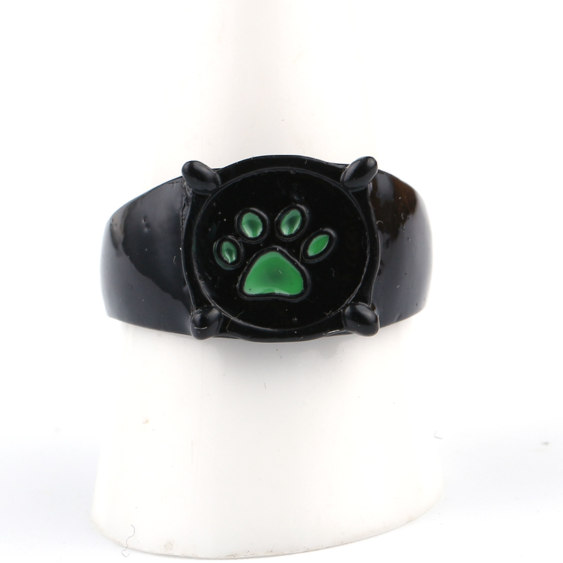 fashion miraculous ladybug chat noir green pawprint ring for men miraculous tales of ladybug cat noir cartoon jewelry gift in rings from jewelry