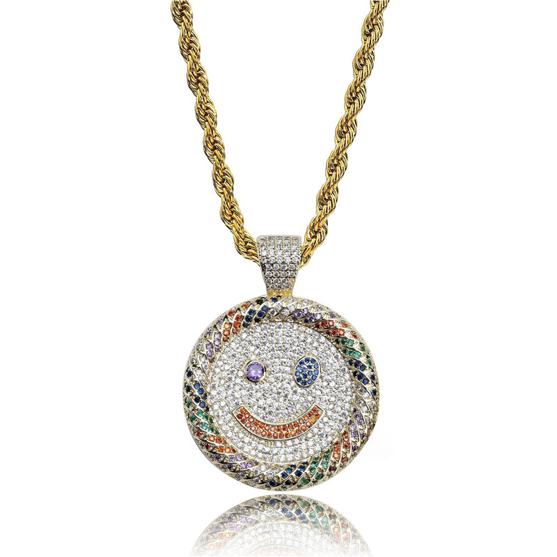 Lucky Sonny Smiling Face Pendant Necklace Zircon Iced Out Pendants & Necklaces With Stainless Steel Chain Hip Hop Bling Bijoux retro style double layered smiling face hat pendant necklace for women