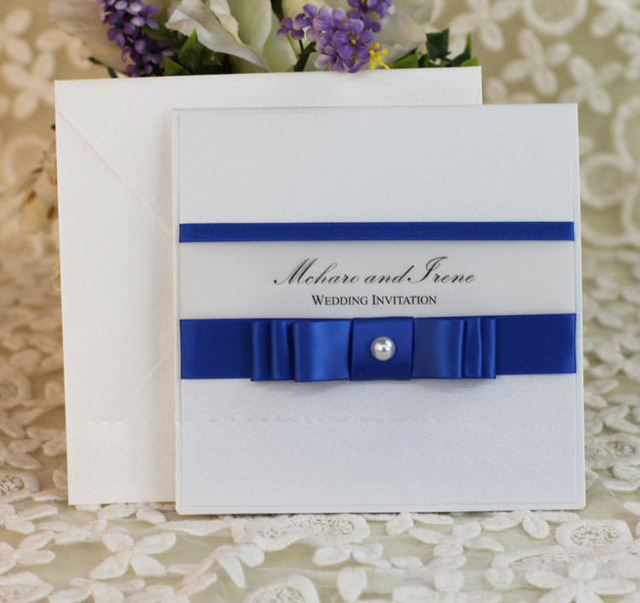 Pretty Layered Royal Blue Stain Ribbon Wedding Invitation With Tracing Paper Printing E357