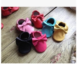 2015 new 100% Genuine Leather Toddler baby moccasins tassel bow and fringe baby shoes First Walkers Anti-slip Infant Shoes