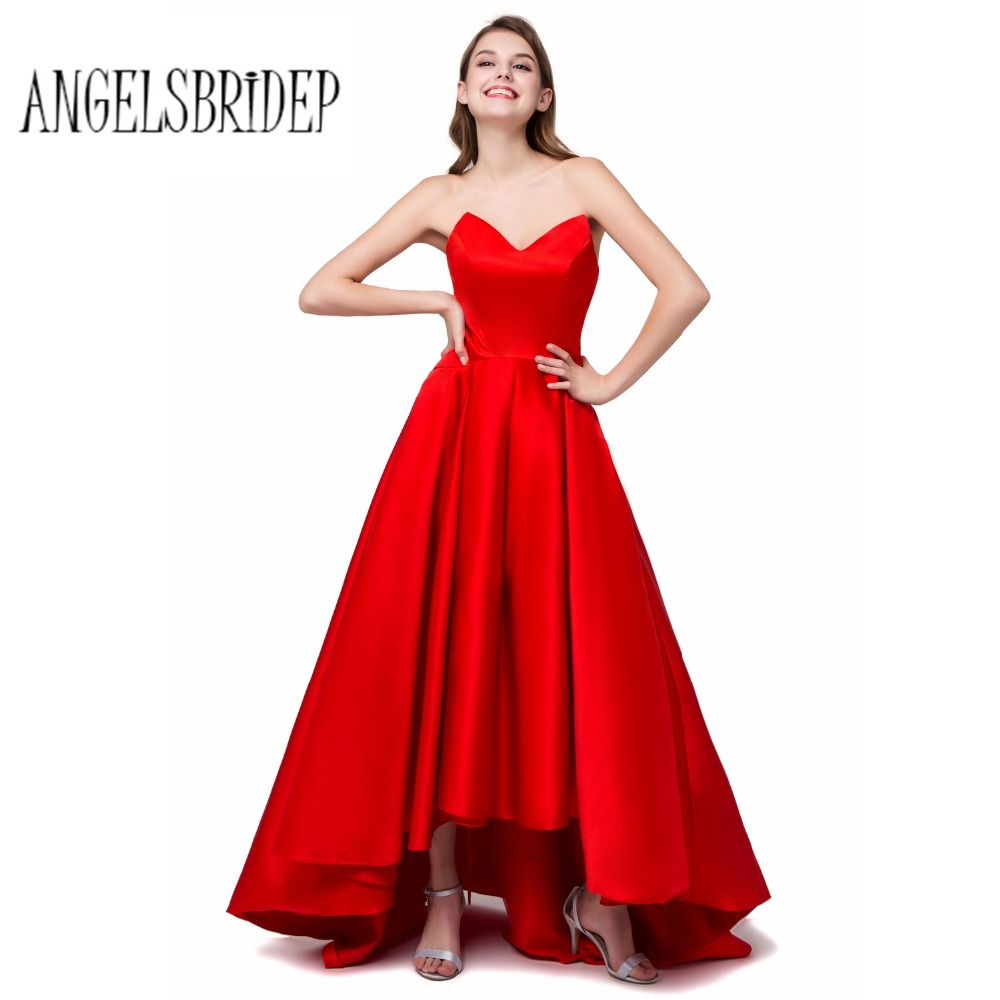Aliexpress buy angelsbridep high low red bridesmaid dresses aliexpress buy angelsbridep high low red bridesmaid dresses satin v neck party gowns simple cheap formal dresses stock size 6 8 10 12 14 16 from ombrellifo Image collections