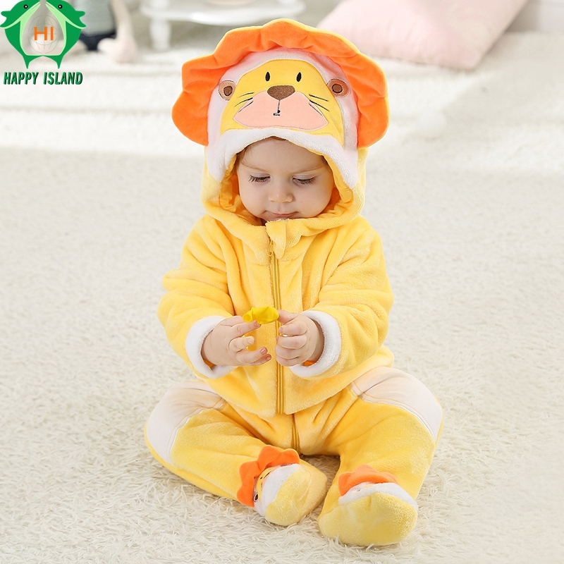 APPY ISLAND Animal Baby Rompers 2017 Autumn Newborn Baby Piece Sleepwear Clothing Kids Jeans Boy Girl Pajamas Cartoon Clothes