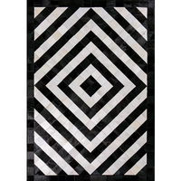 Contemporary Natural Cowhide Leather Cow Fur Patchwork Area Rug Black Beige