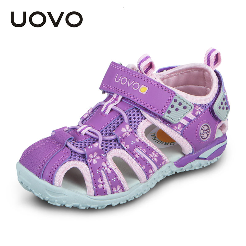 UOVO 2020 Summer Children Shoes Fashion Kids Sandals For Girls Hook-And-Loop Cut-Outs Summer Beach Sandals Size #26-36