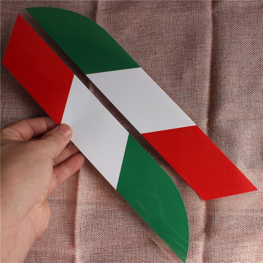 2pcs Italy Color Car National Flag Stickers PVC Rear Decal Styling For Ferrari Abarth Lamborghini Maserati Alfa Romeo Pagani