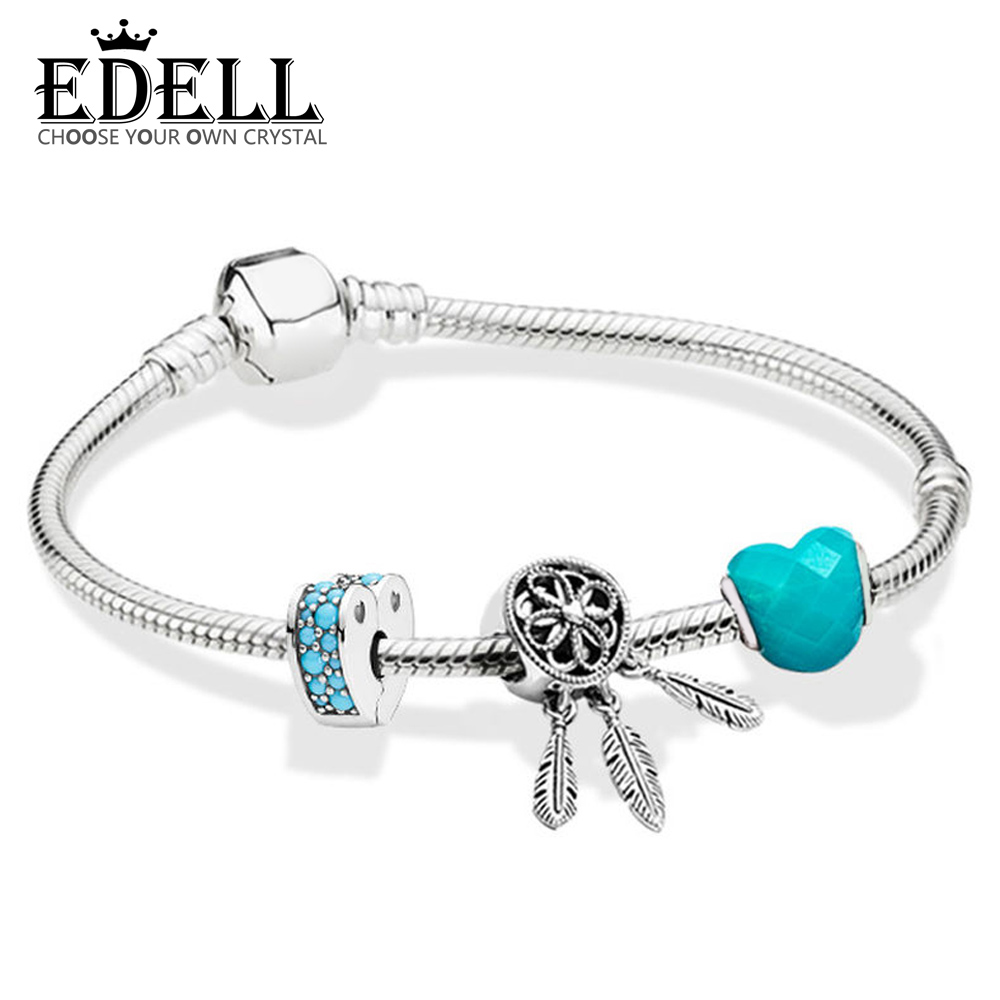 EDELL 100% 925 Sterling Silver 1:1 ZT0124 Blue Dream Cool Summer Beaded BRACELET WITH CLASP Gift High Quality JewelryEDELL 100% 925 Sterling Silver 1:1 ZT0124 Blue Dream Cool Summer Beaded BRACELET WITH CLASP Gift High Quality Jewelry