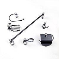 Modern European new black crystal bathroom hardware set 6 items brass wall mounted towel ring hair dryer holder towel bar hook
