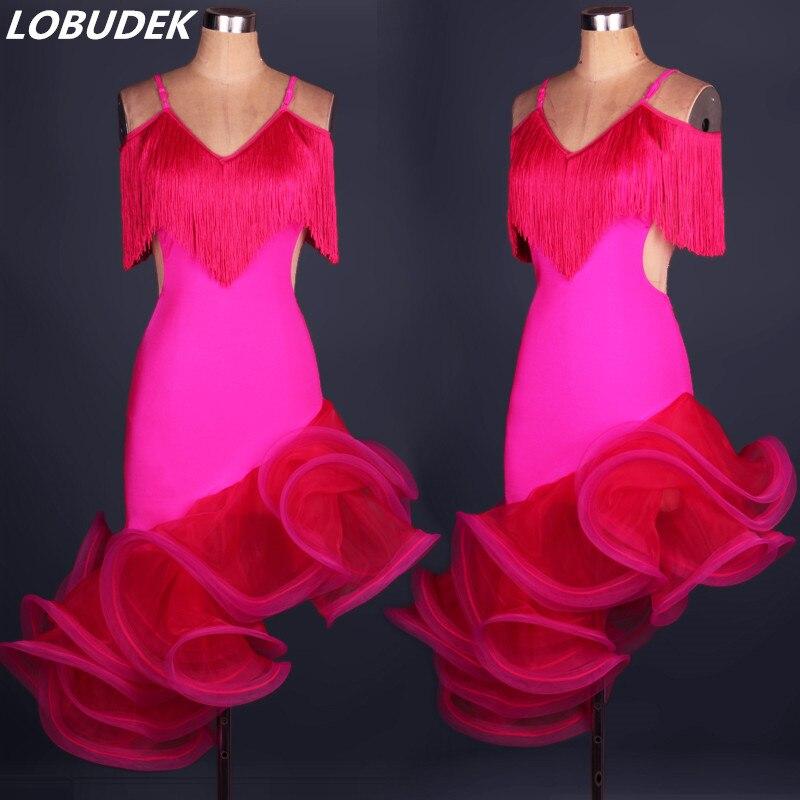 Haut de gamme danse latine robe Match performance vêtements femme DS costumes sexy grande fleur bulle robe bal scène spectacle une pièce