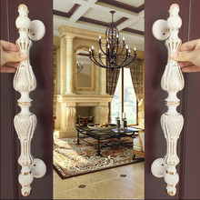 430mm fashion big gate door handles ivory white glass door handles white gold wood door pulls Europe style door handles fittings