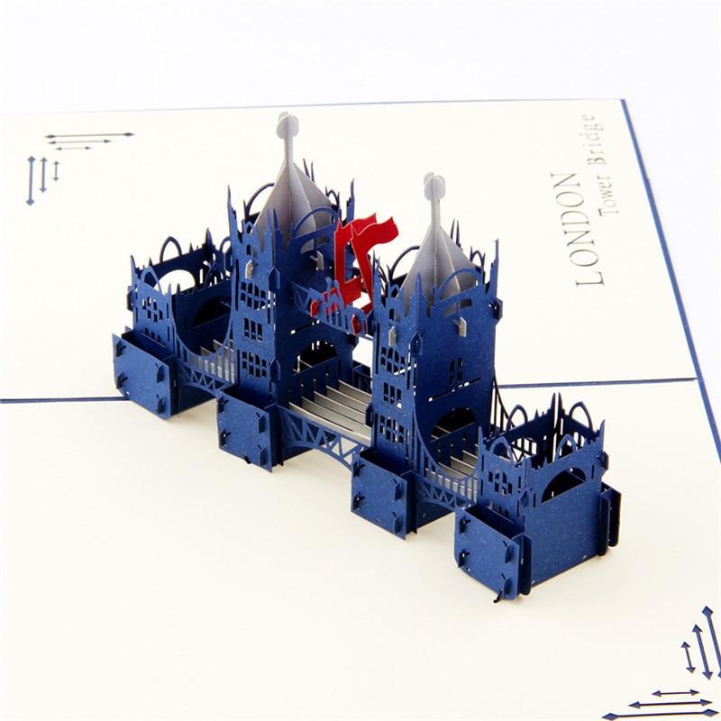 10pcslot Greeting Cards London Bridge Handmade Laser Cutting 3D – London Birthday Cards