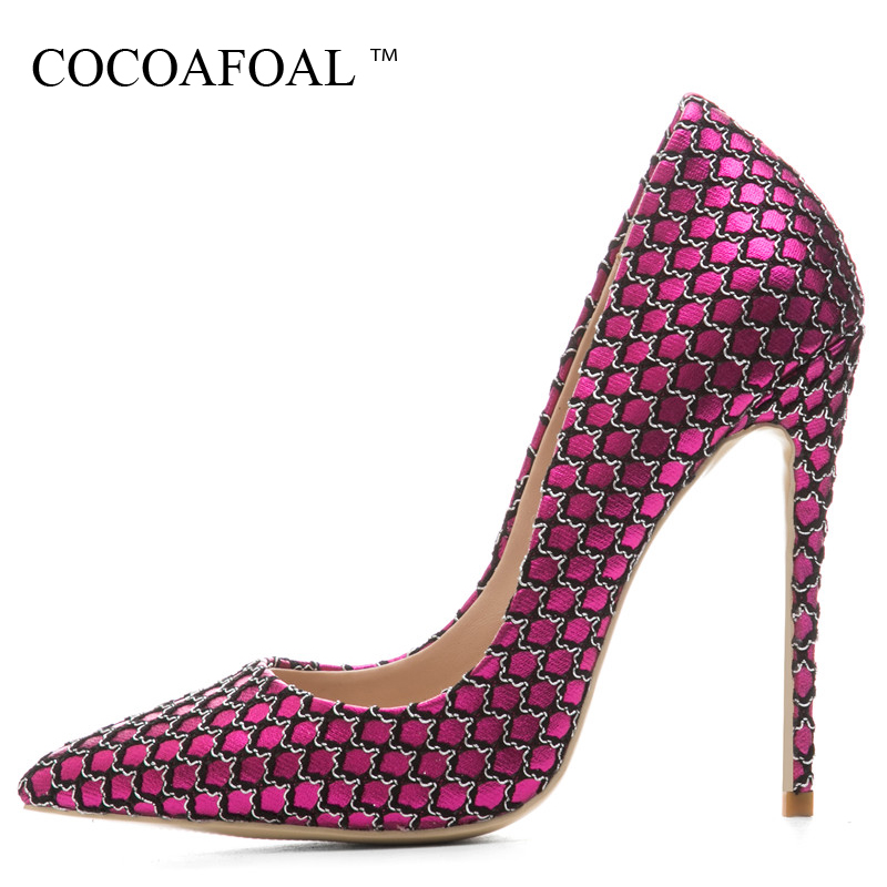 COCOAFOAL Woman Pink Valentine Shoes Stiletto Plus Size 33 43 44 Purple High Heels Shoes Sexy Pointed Toe Party Wedding Pumps cocoafoal woman green high heels shoes plus size 33 43 sexy stiletto red wedding shoes genuine leather pointed toe pumps 2018