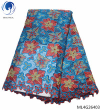 BEAUTIFICAL blue lace fabric latest nigerian guipure fabrics pretty flower 2019 selling ML4G264