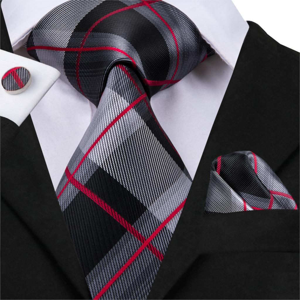 20 Styles Plaid Tie Silk Woven 2019 New Red Grey Plaid Necktie Hanky Cufflinks Set Classic Men's Wedding Pocket Square Tie 8.5cm