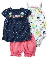 Groothandel 3 stks baby kind meisje kleding pak 2018 nieuwe Baby meisjes kleding shorts toevallige merk katoen jumpsuit mouwloze