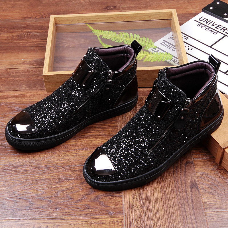 Movechain New Men's Casual Fashion Zipper Outdoor High-Top Shoes Man Slip-On Boots Mens Driving Party Flats 3