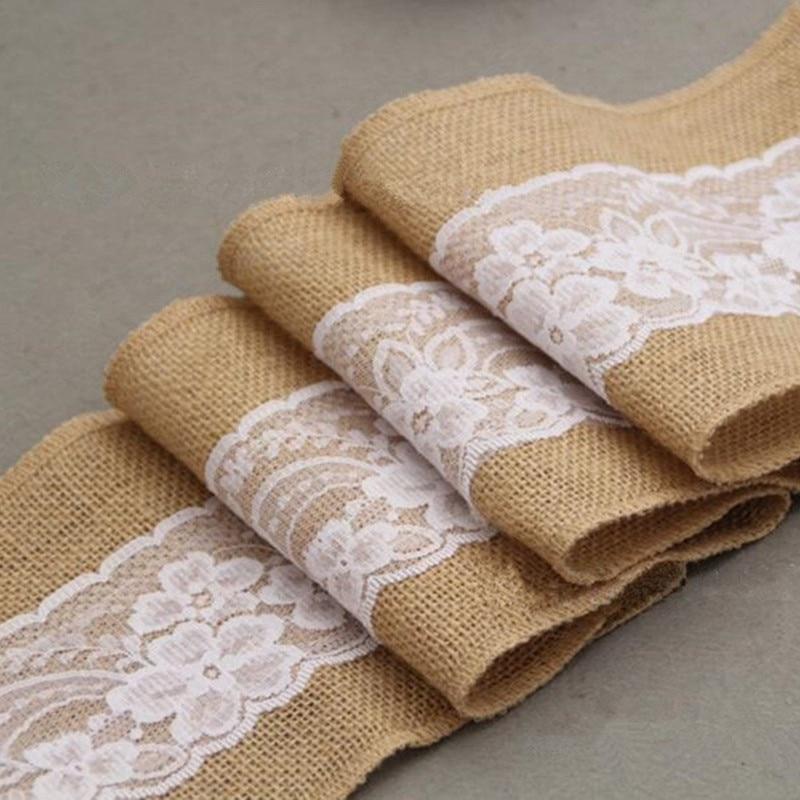 245cm * 15cm Burlap Hessian Ribbon med Lace Sashes for Wedding Craft - Fest utstyr - Bilde 3