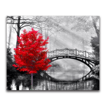 Full square Diamond painting Cross stitch red maple tree mosaic black bridge DIY  embroidery scenery