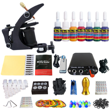 цена на Beginner Starter Complete Tattoo Kit Professional Coil Tattoo Machine Guns Kit 7 Inks Power Supply Grips Set TK105-1