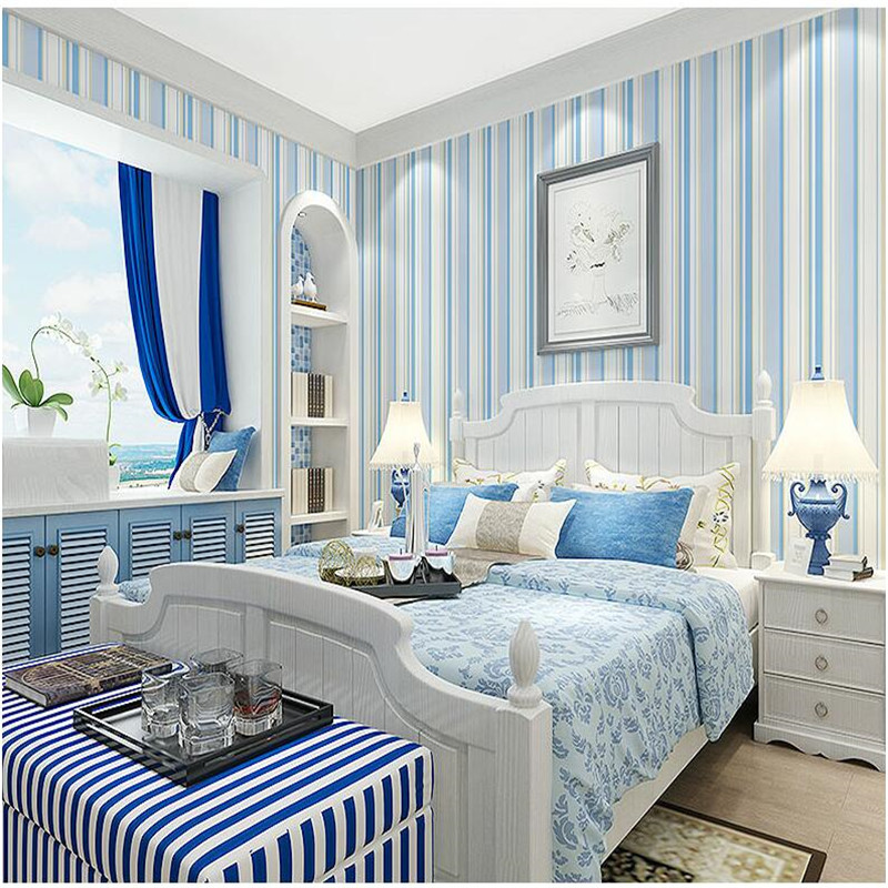 Simple Home Interiors: Modern Blue Vertical Striped Wallpaper Living Room Bedroom