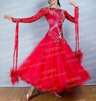 Standard Dance Dress ballroom dancing dress Waltz Dress red colour Ballroom Dancing costume open back ribbon floats