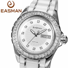 EASMAN Brand Designer White Ceramic Ladies Watch Zircon Gems Date Day Wristwatches Quartz Watches for Women