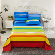 Colorful Rainbow Bed Flat Sheet 100% Polyester Child Kids Adults Twin Full Queen Bedspread Mattress Protector Cover