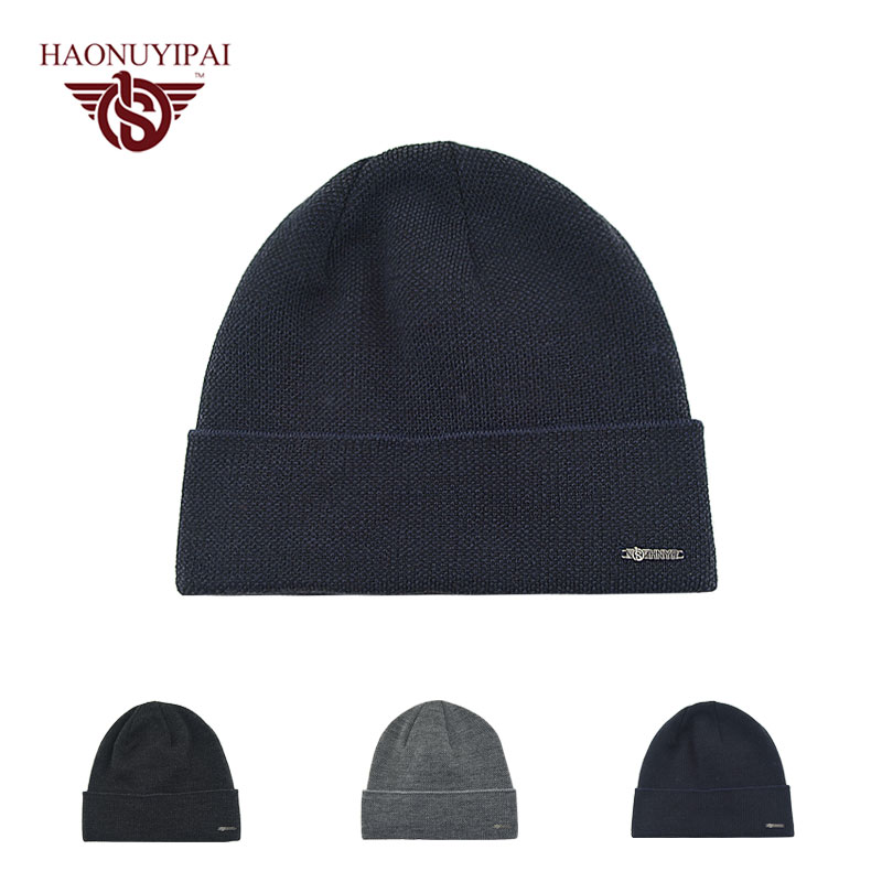 Men's Skullies Winter Wool Knitted Hat Male Brand Beanies Cap Casual Solid Color Hats For Men Black Gray Navy Blue Striped Caps wool skullies cap hat 10pcs lot 2289