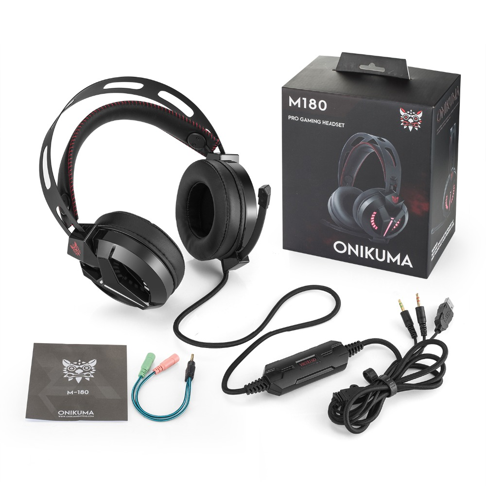 ONIKUMA M180 PS4 Gaming Headset Over Ear Stereo Bass Game Headphone Noise Isolating With Microphone for PC Computer Mobile Phone mvpower stereo gaming headset super bass wired headphone with microphone for sony playstation 4 for ps4 for ps3 game earphone