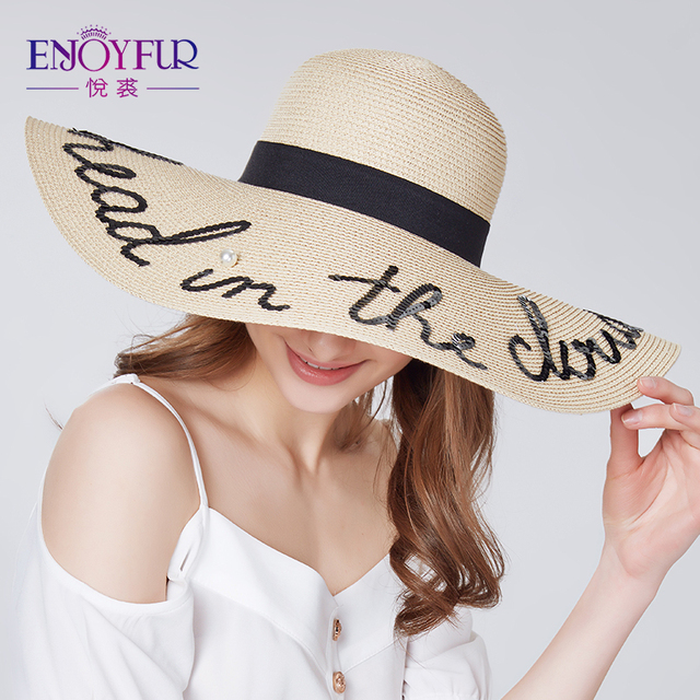2ee2b1d94 US $14.24 40% OFF|ENJOYFUR Fashion letter pearl sun hat wide brim summer  beach hat 2018 new arrival good quality straw cap -in Sun Hats from Apparel  ...