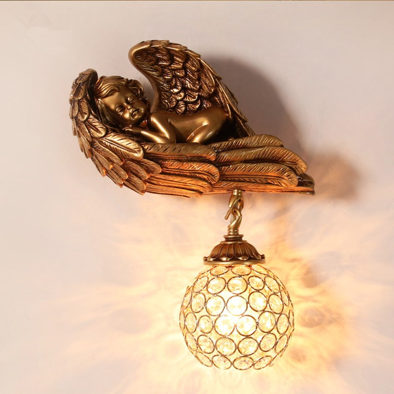 Classic LED Angel Wall Lamp Gold Resin New Fixture Wall Sconces For Bedroom Corridor Art Home Decor Lighting Wall Light G735Classic LED Angel Wall Lamp Gold Resin New Fixture Wall Sconces For Bedroom Corridor Art Home Decor Lighting Wall Light G735