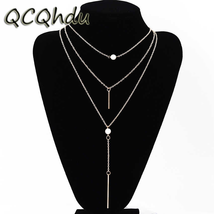 Fashion Jewelry Layered Chain Necklace Women Necklaces Pendants Tassel Charm Bar Statement 3 Multi Layer Necklace
